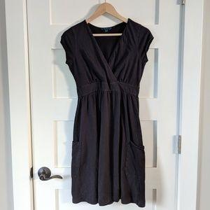Boden basic black short sleeve faux wrap dress 10